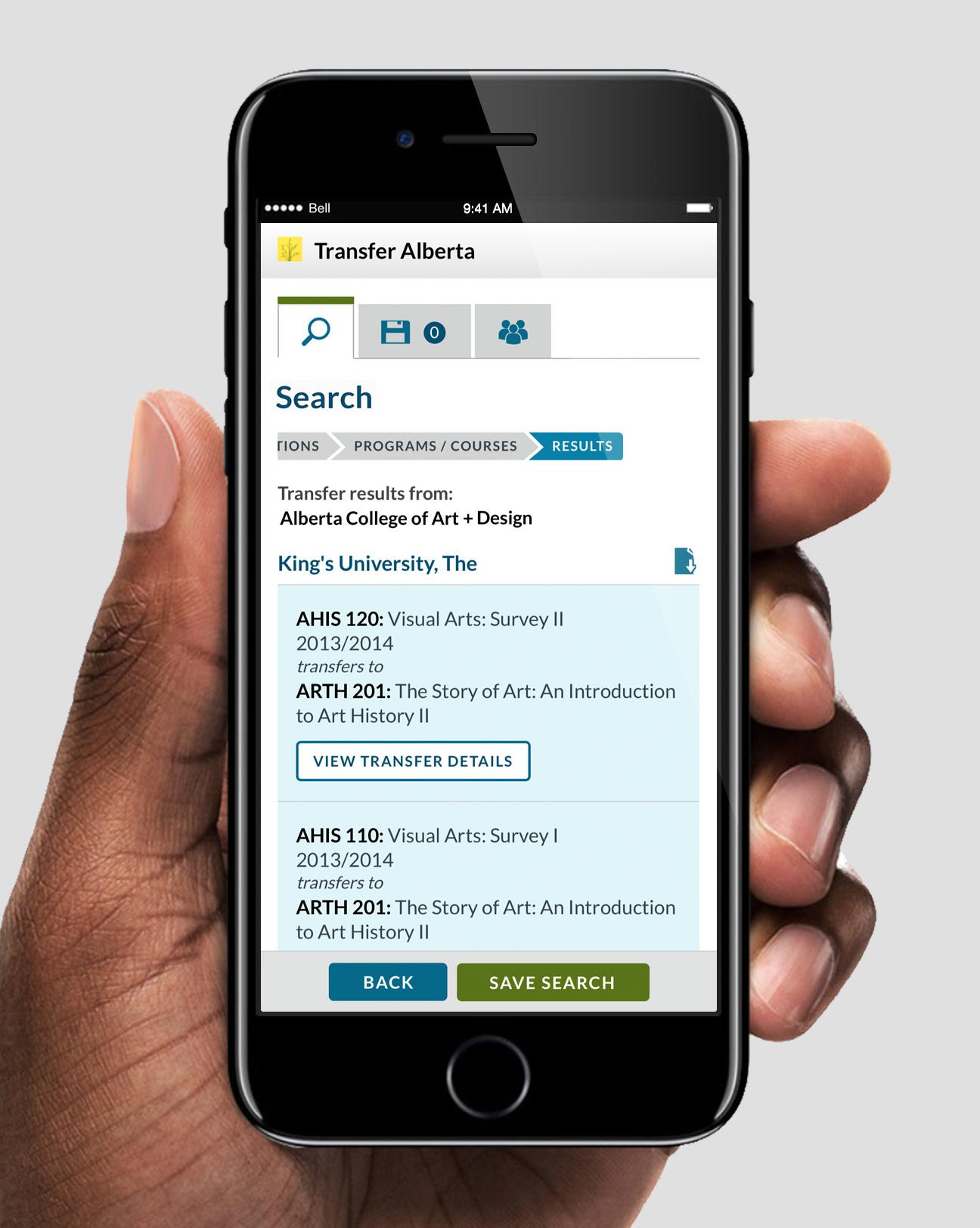 Transfer Alberta Search - Mobile App results